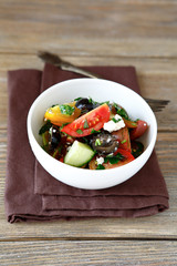 Greek salad with vegetables and cottage cheese