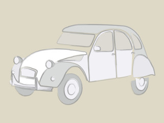 Typical Retro French Car. Illustration of an classic automobile