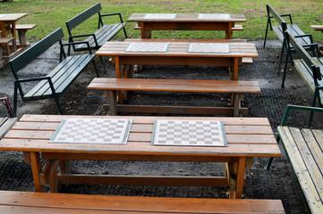 Schachbretter im Park