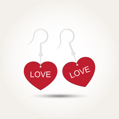 Vector Love Heart Couple Earring