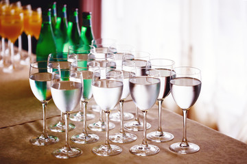 High glasses with water or wine