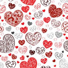 Seamless pattern of hearts
