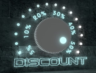 adjust discount value regulator with neon shine scale