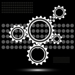 gears on a black background with spots, vector illustration