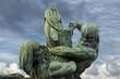 fisherman titans silhouette copper statue