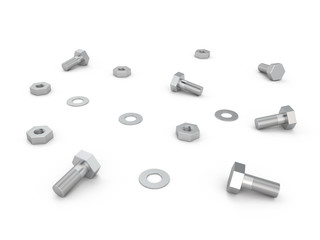 Nuts, screws and bolts, 3D