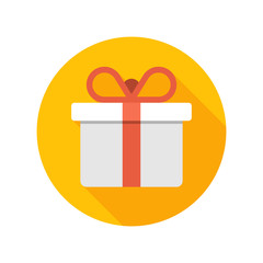Flat White Gift Box Present with Red Bow icon