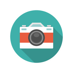 Flat Photographer Professional Retro Photo Camera
