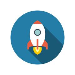 Flat Startup Rocket Beginning Fly Up Start Business Concept