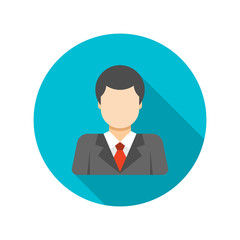 Flat Busness Man User Profile Avatar in Suit
