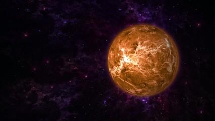 Planet Venus on Stars Background, Seamless Rotation