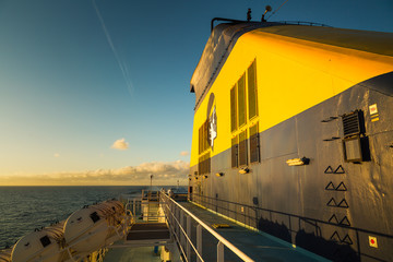 Evening sun on funnel of Corsican Ferry