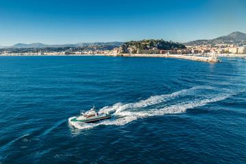 Pilot boat leaving Nice harbour