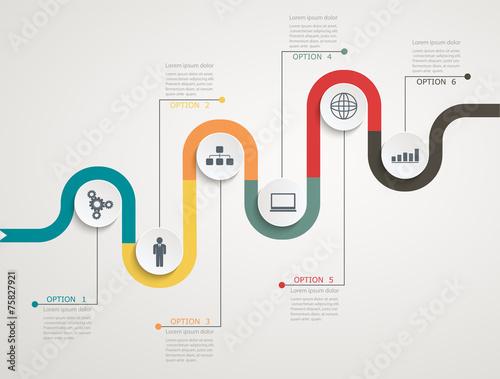 Infografika drogowa z ikonami, struktura krokowa