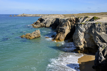 Rocky coast at Quiberon peninsula in France