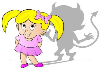 Mädchen mit Teufels Schatten