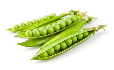 Peas in a pod isolated on white