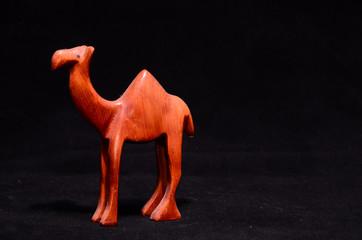 Wood Handmade Statuette of a Dromedary