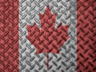 Canadian flag on grunge wall