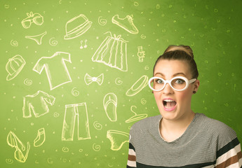 Happy young woman with glasses and casual clothes icons