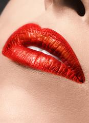 Sensual red Lips make up closeup