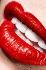 Sensual open red Lips make up closeup