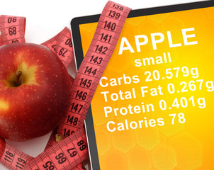 Tablet with Calories In Apple. nutrition facts