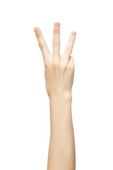 hand is showing three fingers isolated on white background