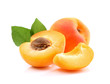 Ripe apricots with slice