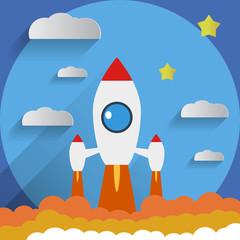 Flat Design Rocket Start Stars Background Vector Illustration