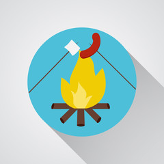 Bonfire with marshmallow and sausage- vector icon with shadow on