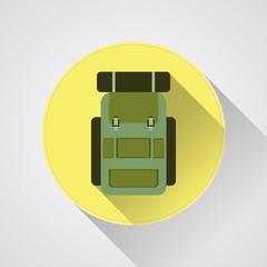 Vector flat modern set of three hiking backpacks. Three retro
