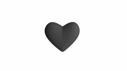 Grey heart on white background loopable
