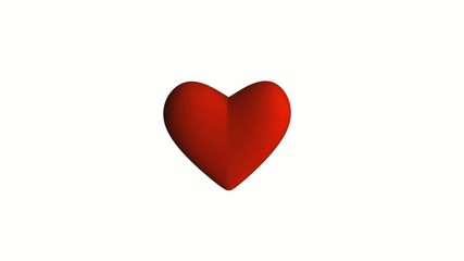 Red heart on white background loopable