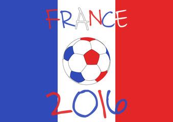 France 2016 Football poster. France flag background