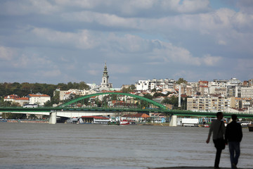 Bridge in Belgrade town, river Sava, Serbia