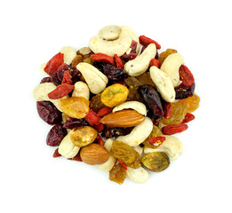 Aerial of healthy mixed fruits and nuts snack