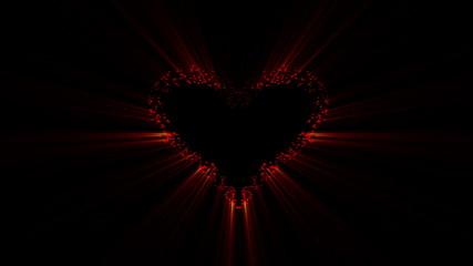 Valentines day, heart bada boom on black background