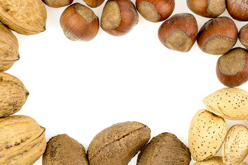 Mixed nuts isolated on white with copyspace