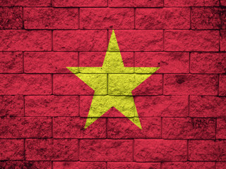 Vietnam flag on the brick wall