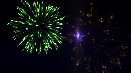 Six shots of fireworks in the starry sky