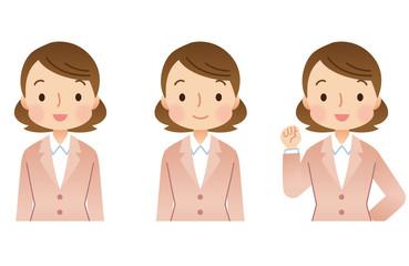 スーツを着た女性 表情セット