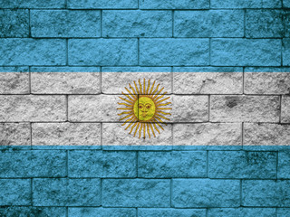 flag from Argentina painted on a stone wall