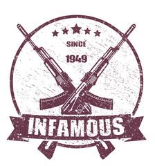 infamous since 1949 emblem scratched vector illustration, eps10