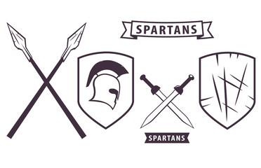 Spartans. Elements for Emblem vector illustration, eps10