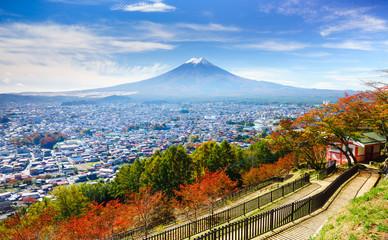 Aerial view of mt.Fuji, Fujiyoshida, Japan