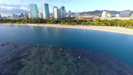 Aerial over Ala Moana Beach Park in Honolulu