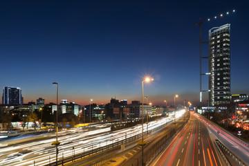 Night Traffic At Mecidiyekoy, Istanbul, Turkey