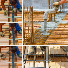 Construction worker to the work of a concrete structure