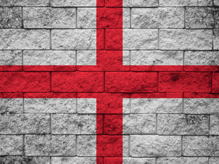 Grungy England Flag painted on concrete wall
